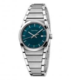 Calvin Klein Silver Step Dark Green Dial Watch