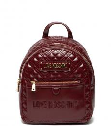 Love Moschino Maroon Quilted Small Backpack