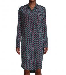 Diane Von Furstenberg Blue Multi Geometric-Print Silk Shirtdress
