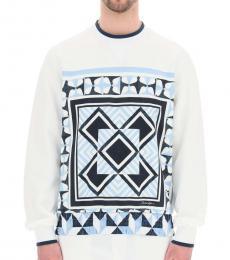 White Majolica Print Sweatshirt