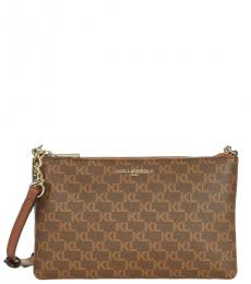Karl Lagerfeld Dark Brown Charlotte Medium Crossbody Bag