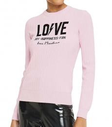 Love Moschino Baby Pink Jacquard And Ribbed-Knit Sweater
