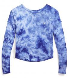 Ralph Lauren Girls Blue Tie-Dye Waffle-Knit T-Shirt
