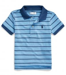 Ralph Lauren Baby Boys Fall Blue Striped Mesh Polo