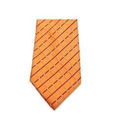 Orange Neat Grid Slim Tie