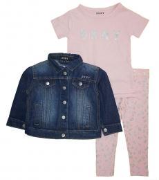 DKNY 3 Piece Jacket/T-Shirt/Leggings Set (Little Girls)