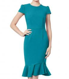 Betsey Johnson Teal Scuba Ruffle Midi Dress