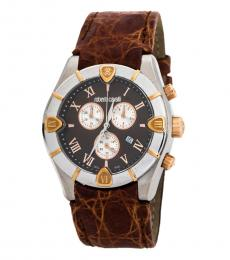 Roberto Cavalli Brown Diamond Chronograph Watch