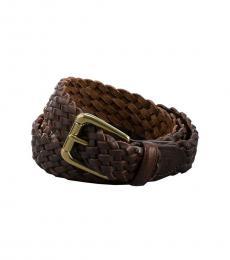 Ralph Lauren Brown Braided Leather Belt