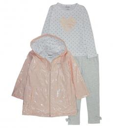 DKNY 3 Piece Rain Jacket/T-Shirt/Leggings Set (Little Girls)