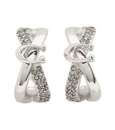 Coach Silver Huggie Signature Earrings