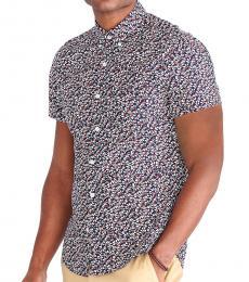Navy Blue Short-Sleeve Floral Slim Shirt