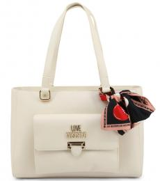 Love Moschino White Flap Pocket Large Tote