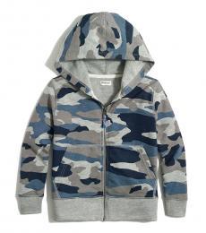 J.Crew Boys Grey Blue Multi Full Zip Hoodie
