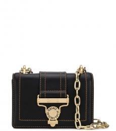 Versace Jeans Black Front Flap Small Shoulder Bag
