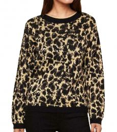 Juicy Couture Black Metallic Leopard Print Pullover Sweater