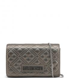 Love Moschino Grey Quilted Small Crossbody Bag