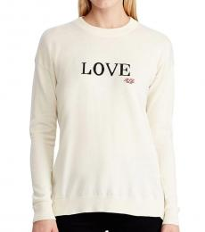 White Relaxed-Fit Love Sweater