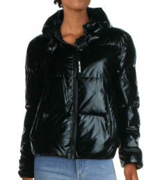 Juicy Couture Black Quilted Metallic Down Jacket