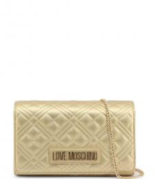 Love Moschino Golden Quilted Small Crossbody Bag