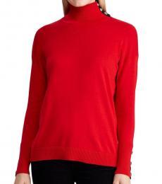 Ralph Lauren Red Contrast-Tab Turtleneck Sweater