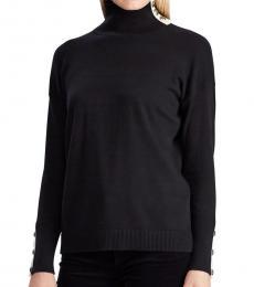 Black Contrast-Tab Turtleneck Sweater