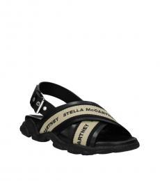 Black Logo Front Slingback Sandals
