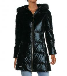 Juicy Couture Black Glossy Metallic Quilted Puffer Jacket