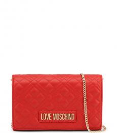 Love Moschino Red Quilted Small Crossbody Bag