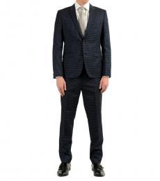 Hugo Boss Dark Grey Plaid Wool Two Button Suit
