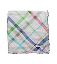 Coach Off White Tattersall Plaid Scarf