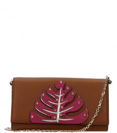 Brown Leaf Mini Shoulder Bag