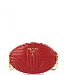 Red Round Quilted Small Crossbody