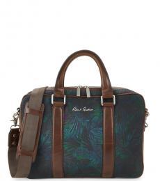Robert Graham Navy Leaf-Print Large Briefcase Bag