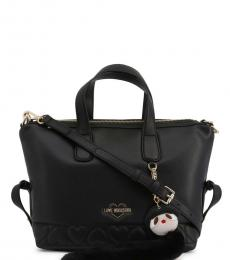 Love Moschino Black Embossed Heart Medium Satchel