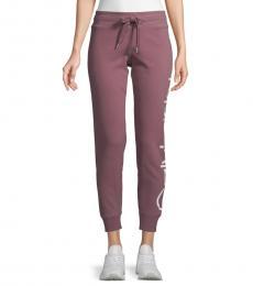 Calvin Klein Purple Logo Cropped Jogger Pants