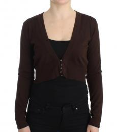 Cavalli Class Brown Cropped Wool Cardigan
