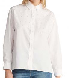 White Faux Pearl Shirt