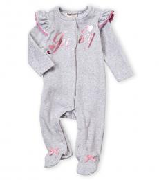 Juicy Couture Baby Girls Grey Ruffles Allover Footie