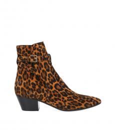 Leopard Print West Ankle Boots
