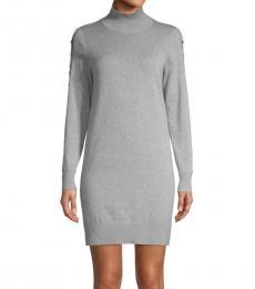 Michael Kors Light Grey Cutout-Sleeve Sweater Dress