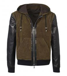 Balmain Black Olive Leather Jacket