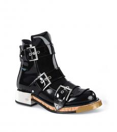 Black Tri Buckle Ankle Boots