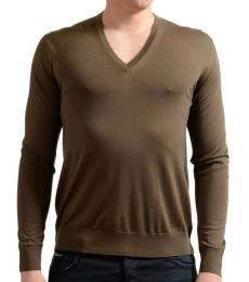 Brown V-Neck Pullover Sweater