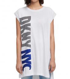 DKNY Off White Stripe Logo Split Hem Tunic