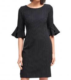 DKNY BlackWhite Bell Sleeve Sheath Dress
