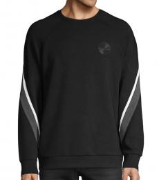Black Striped Crewneck Sweatshirt