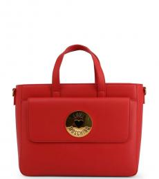 Love Moschino Red Graphic Strap Medium Satchel