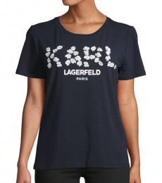 Karl Lagerfeld Marine Flower Embellished Logo Tee