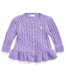 Ralph Lauren Baby Girls Purple Peplum Cardigan